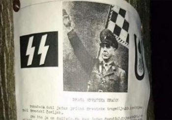 Plakati sa ustaškim porukama u sarajevskom naselju Dobrinja