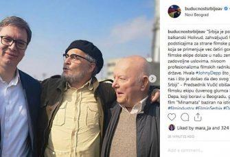 """KOLEGE: Aleksandar Vučić sa Džonijem Depom tokom posjete ekipi filma """"Minamata"""""""