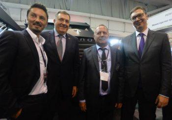 """Vučić, Dodik i Lukač na promociji """"despota"""" na Sajmu naoružanja u Beogradu"""