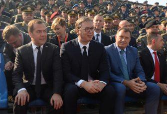 """Vučić, Medvedev i Dodik na vojnoj vježbi """"Sloboda 2019"""""""