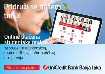 """Prva velika šansa"" – prva online plaćena studentska praksa u UniCredit Bank a.d. Banja Luka"